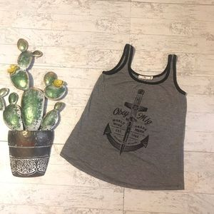 Obey tank top grey black size small